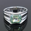 Certified 3.15 Ct Blue Diamond Solitaire Men's Ring In Emerald Cut, AAA Quality, Great Shine & Luster ! Watch Video - ZeeDiamonds