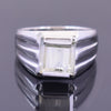 4.15 Ct Off White Diamond Solitaire Men's Ring In Princess Cut, AAA Quality, Great Shine & Luster ! Watch Video - ZeeDiamonds
