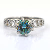 0.90 Ct Blue Diamond Solitaire Ring In Round Brilliant Cut, AAA Quality, Great Shine & Luster ! Watch Video - ZeeDiamonds