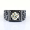 1.30 Ct Round Brilliant Cut Off-White Diamond Men's Ring In Black Gold Finish, Amazing Shine & Bling !