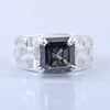 2.92 Ct Certified Blue Diamond Ring In Emerald Cut, AAA Quality, Great Shine & Luster !
