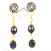 AAA Certified 7 mm Black Diamond Dangler Earrings in Yellow Finish with Great Silver Finding, Ethnic Collection & Great Style - ZeeDiamonds