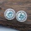 3 Ct Certified Amazing Blue Diamond Stud Earrings in 925 Silver with Prong Style! Great Sparkle & Elegant Look! Gift For Birthday! - ZeeDiamonds