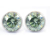 3.00 Ct Blue Diamond Solitaire Studs in Bezel Setting With 925 Silver, Great Brilliance ! - ZeeDiamonds