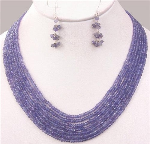 4 - 5 mm Handmade Natural Tanzanite Gemstone Beads 7 Strand Necklace - ZeeDiamonds