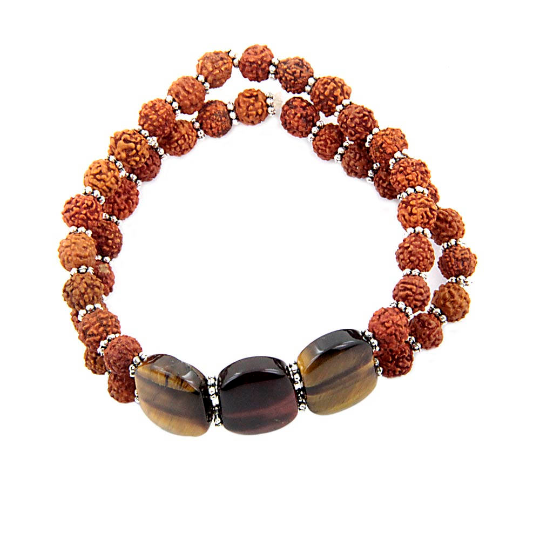 5 mm Rudraksha And Tiger Eye Gemstone Bracelet