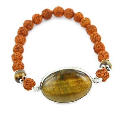 Rudraksh and Tiger Eye Gemstone Astrological Bracelet