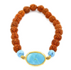 Rudraksha and Turquoise Gemstone Astrological Bracelet - ZeeDiamonds