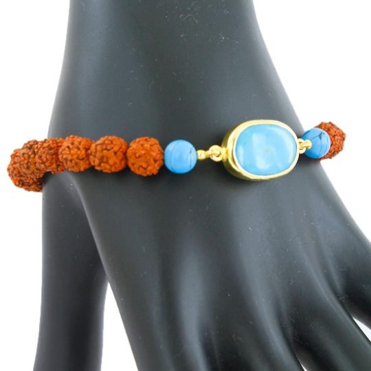 Rudraksha and Turquoise Gemstone Astrological Bracelet
