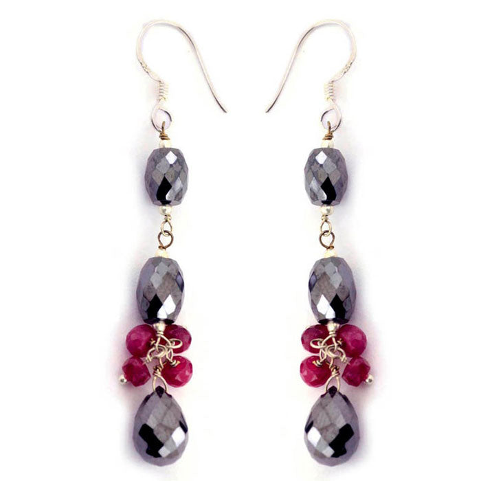 Drum Shape Beaded Earrings With Rubies gemstone