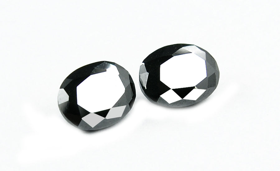 Certified 3.840 ct Oval Cut African Black Diamond Pair.AAA Earth Mined