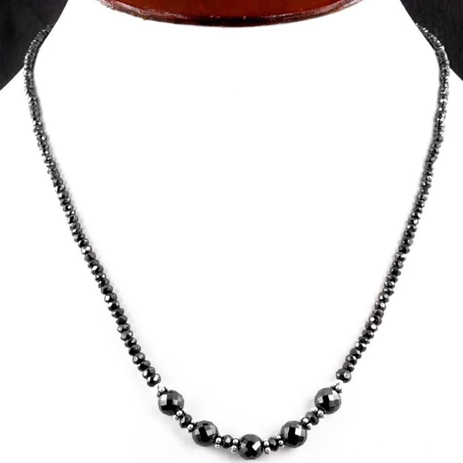 4-8 mm AAA Quality Certified Black Diamond Necklace With Silver Findings - ZeeDiamonds