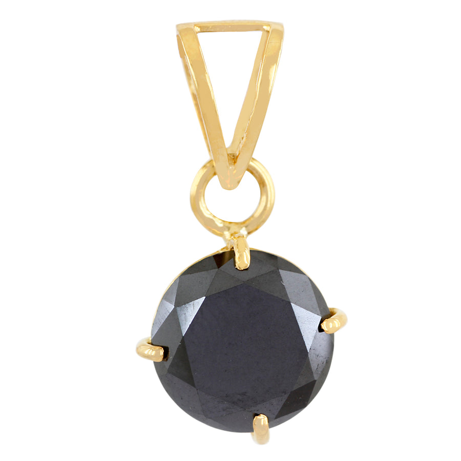 3.5 Cts Certified Round Shape Black Diamond Pendant in 18K Gold - Free Chain - ZeeDiamonds