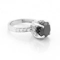 2.5 Ct Certified Black Diamond Engagement Ring With White Diamonds - ZeeDiamonds