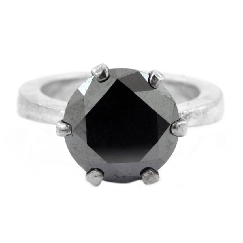 3-5 Cts Round Brilliant Cut Black Diamond Solitaire Ring In 925 Silver - ZeeDiamonds