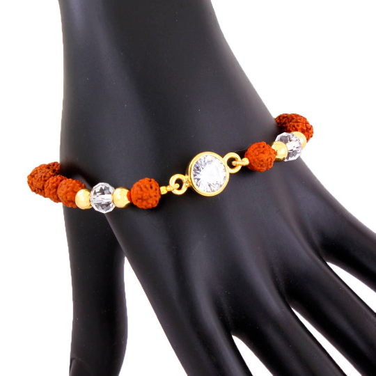Five Face Rudraksh Bracelet With White Zircon, Unisex Bracelet - ZeeDiamonds