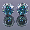 3.50 Ct Certified Amazing Blue Diamond Stud Earrings in 925 Silver with Bezel! Great Sparkle & Elegant Look! Gift For Birthday! - ZeeDiamonds