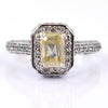1.10 Ct Emerald Cut Champagne Diamond Solitaire Ring With Accents, Great Shine, AAA Quality ! - ZeeDiamonds