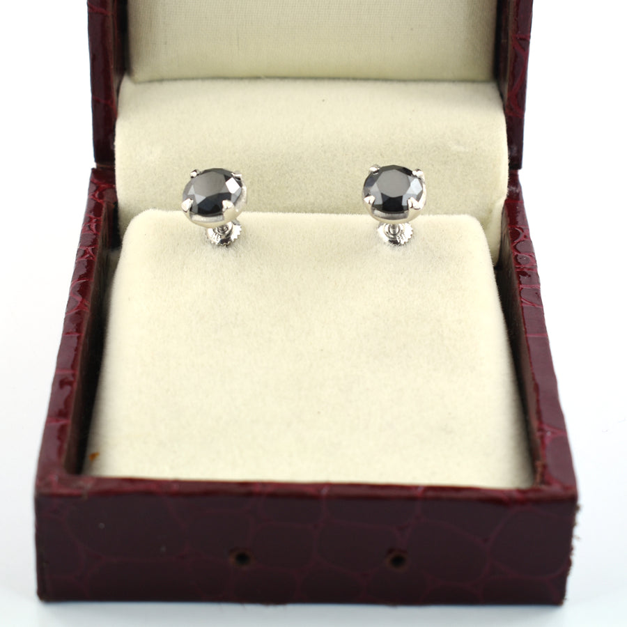 3 Ct AAA Certified Black Diamond Studs in 925 Silver, Prong Setting - ZeeDiamonds