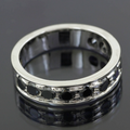 Black Diamond Accents Wedding Band Ring in Sterling Silver For Gift - ZeeDiamonds