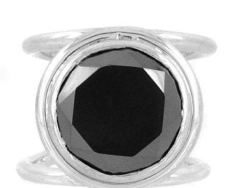 1-4 Ct Round Brilliant Cut Black Diamond Solitaire Ring In Sterling Silver - ZeeDiamonds