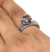 Mystic Topaz Twin Wedding Ring with Blue Sapphire Accents