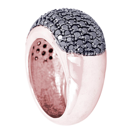 2 Cts Black Diamond Solitaire Fancy Ring In Rose Gold Finish - ZeeDiamonds