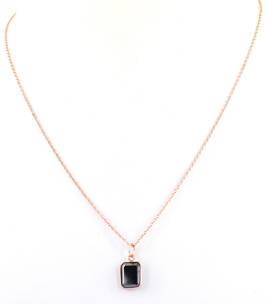 3.5 Ct Certified Black Diamond Pendant In Rose Gold - Birthday Gift- AAA Quality - ZeeDiamonds
