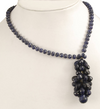 5-7 mm Grape Bunch Of Blue Sapphire Drops Beaded Necklace