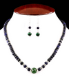7-8 mm Faceted Blue Sapphire Necklace With Emerald Bead