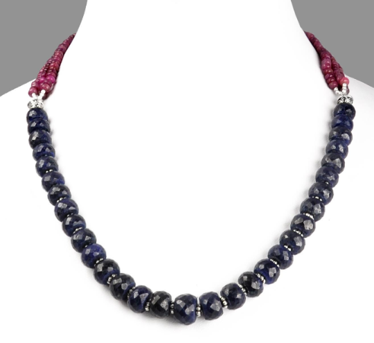 7-8 mm Faceted Blue Sapphire Gemstone Necklace With African Rubies - ZeeDiamonds