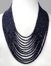 3-4 mm Beads 12 Strand Blue Sapphire Gemstone  Necklace - ZeeDiamonds