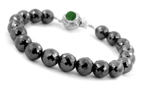 10 mm Black Diamond Beads with Emerald Gemstone Silver Clasp Bracelet - ZeeDiamonds