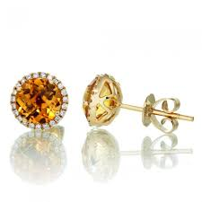 Citrine Gemstone Studs With White Diamond Accents in 14 kt Gold - ZeeDiamonds