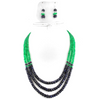 3 Row Emerald And Blue Sapphire Multi Gemstone Necklace - ZeeDiamonds