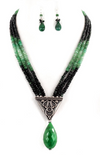 Three Row Colombian & Zambian Emerald Necklace - ZeeDiamonds