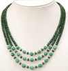 4-5 mm, 3 Strand Faceted Emerald Gemstone Beaded Necklace - ZeeDiamonds