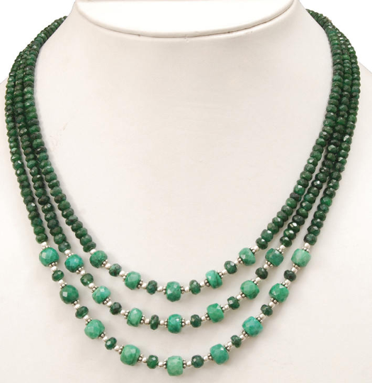4-5 mm, Three Strand Faceted Emerald Gemstone Beaded Necklace In 925 Silver (Goli) - ZeeDiamonds