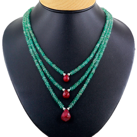 Details about  /520.00 Cts Earth Mined 3 Strand Red Ruby Oval Beads Handmade Necklace JK 12E264