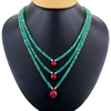 3 Row Emerald Beads Necklace With Ruby Drops - ZeeDiamonds