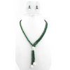 Elegant Lariat Faceted Emerald And Pearl Beads Necklace
