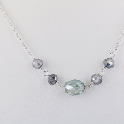 4-6 mm Gray and Blue Diamond Chain Necklace