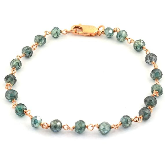 3.5-4.5 mm Blue Diamond Chain Bracelet in Rose Gold Finish - ZeeDiamonds
