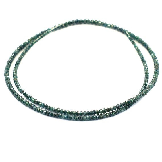 2-2.5 mm Blue Diamond Beads Necklace with 18 kt gold Clasp - ZeeDiamonds