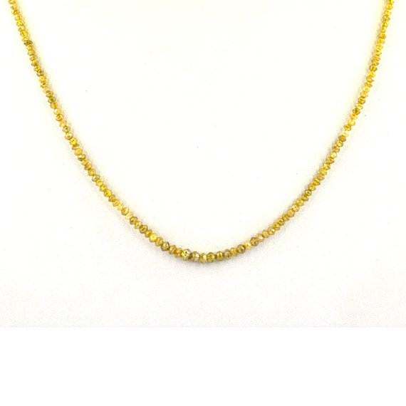 2 mm Yellow Diamond Beads Necklace In 18 kt gold Clasp - ZeeDiamonds
