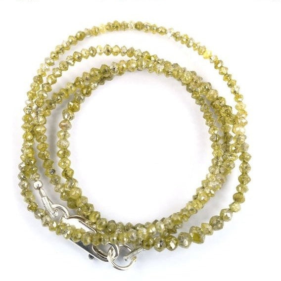Very Fine Quality 2 mm Light Yellow Diamond Beads Necklace - ZeeDiamonds