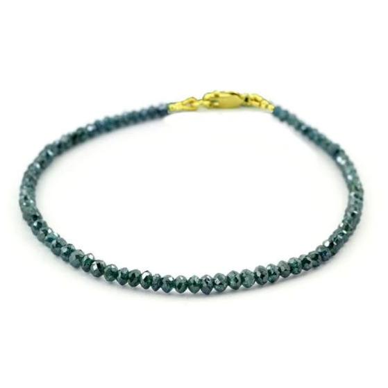 3-3.5 mm Blue Diamond Beads Bracelet With 18 kt Gold Clasp - ZeeDiamonds