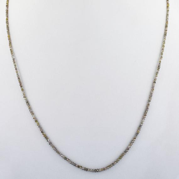 2 mm Champagne Diamond Beads Necklace With Excellent Cut - ZeeDiamonds