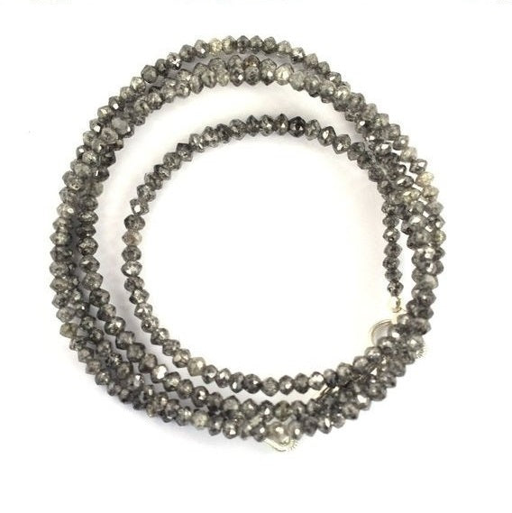 2 mm Gray Diamond Beads Necklace With 925 Sterling Silver Clasp - ZeeDiamonds