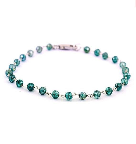 3 mm Blue Diamond Beads Bracelets in 925 Sterling Silver - ZeeDiamonds